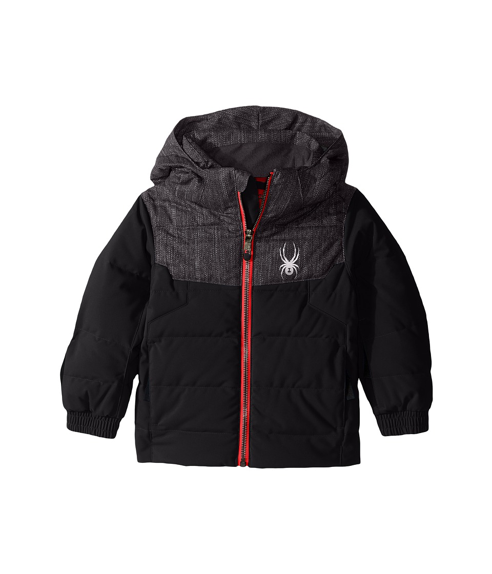 Spyder Kids - Mini Clutch Down Jacket (Toddler/Little Kids) (Black/Herringbone/Red) Boy's Coat