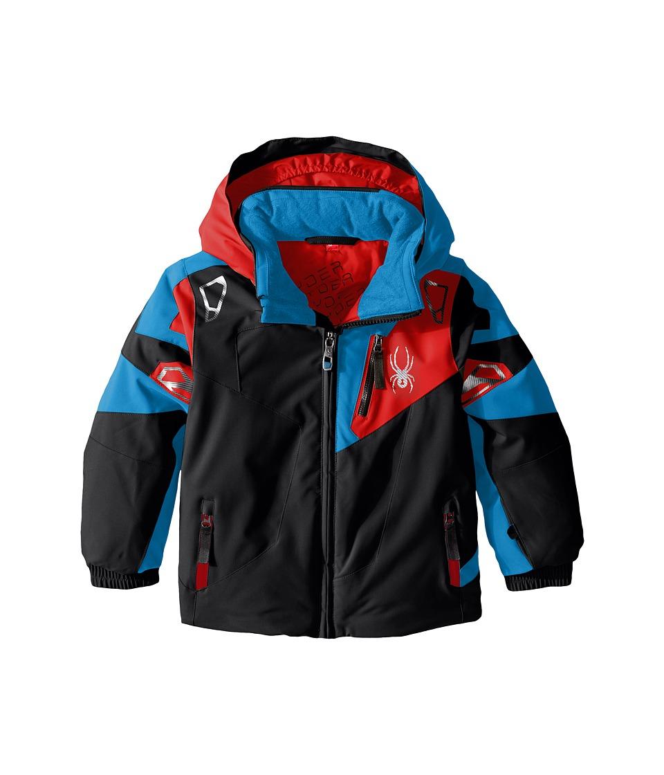 Spyder Kids - Mini Leader Jacket (Toddler/Little Kids) (Black/Electric Blue/Rage) Boy's Coat