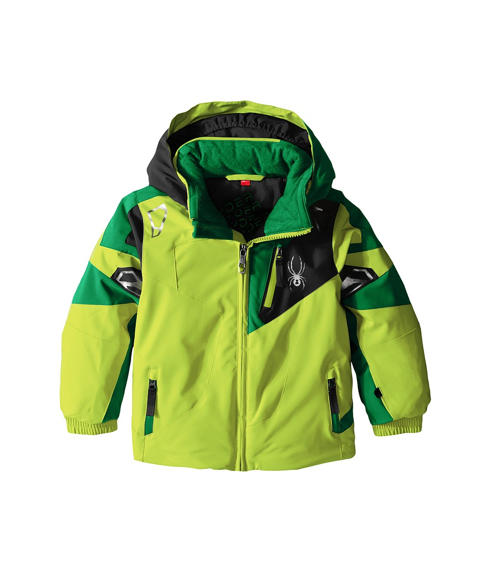 Spyder Kids - Mini Leader Jacket (Toddler/Little Kids) (Bryte Green/Jungle/Black) Boy's Coat