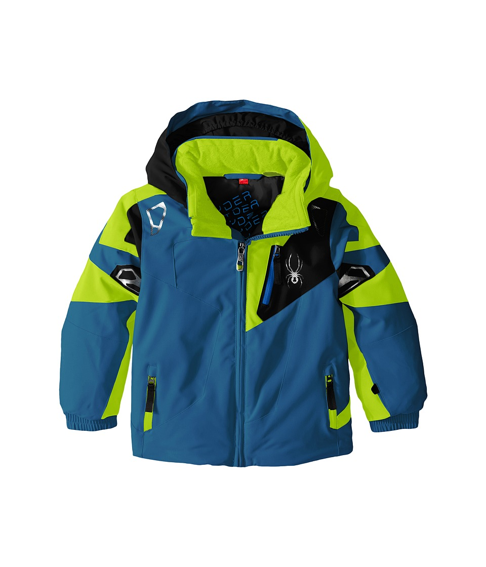 Spyder Kids - Mini Leader Jacket (Toddler/Little Kids) (Concept Blue/Bryte Green/Black) Boy's Coat