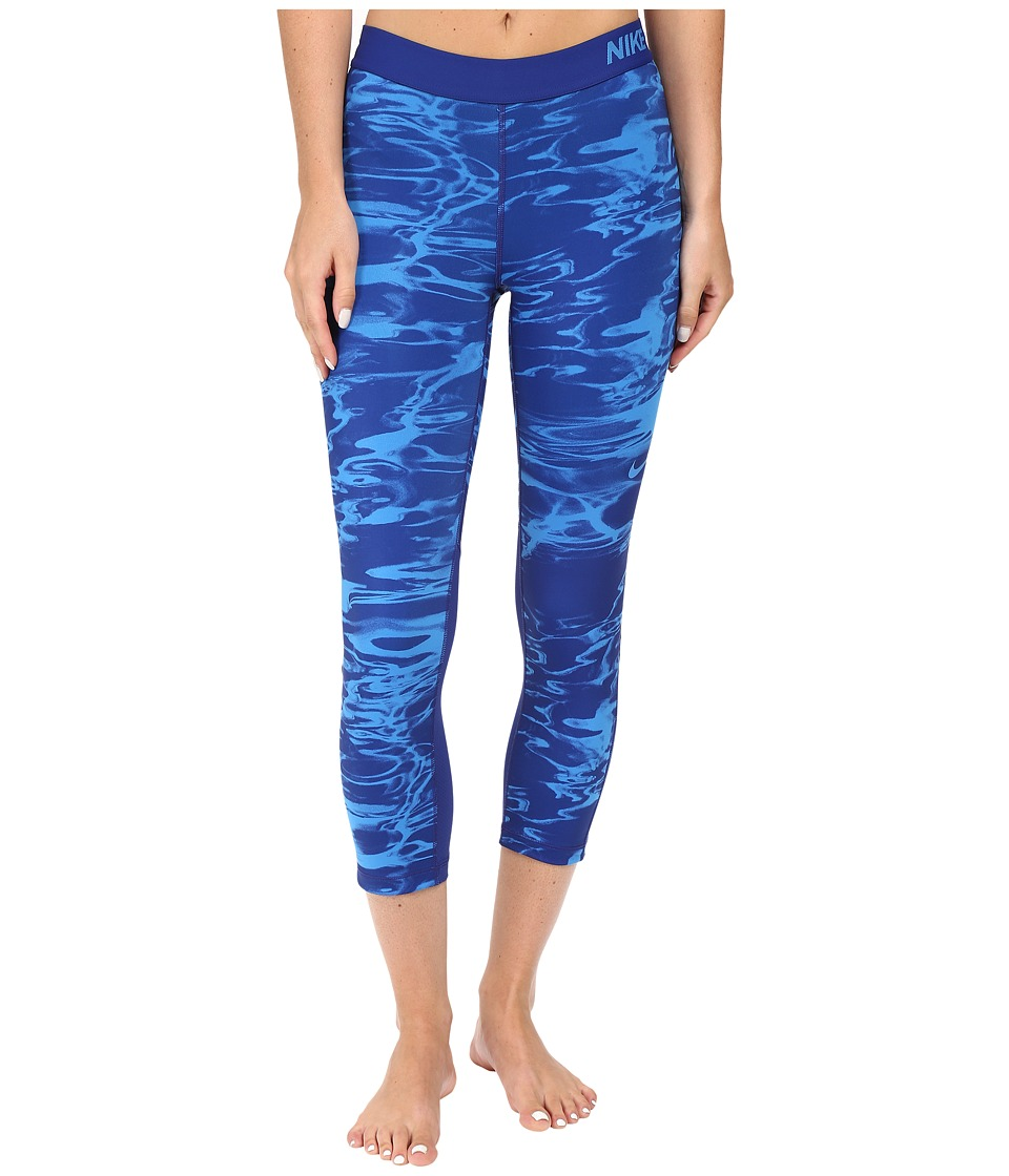 Nike - Pro Cool Pool Print Training Capri (Light Photo Blue/Light Photo Blue) Women's Capri