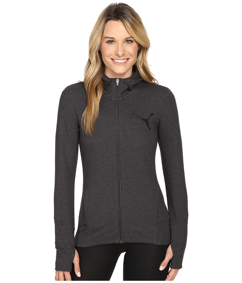 PUMA - Elevated Full Zip Hoodie (Dark Gray Heather) Women's Sweatshirt