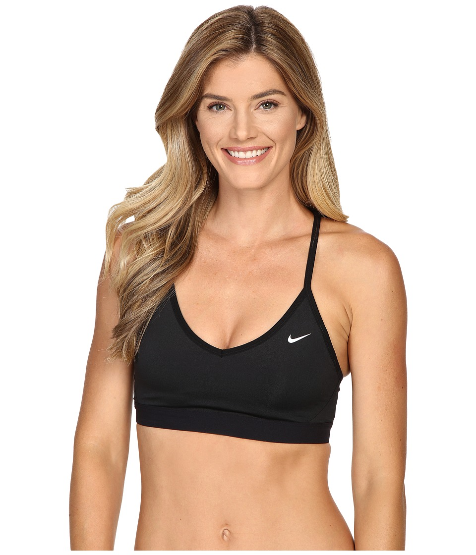Nike - Pro Indy Cross Back Light Support Sports Bra (Black/Black/White) Women's Bra