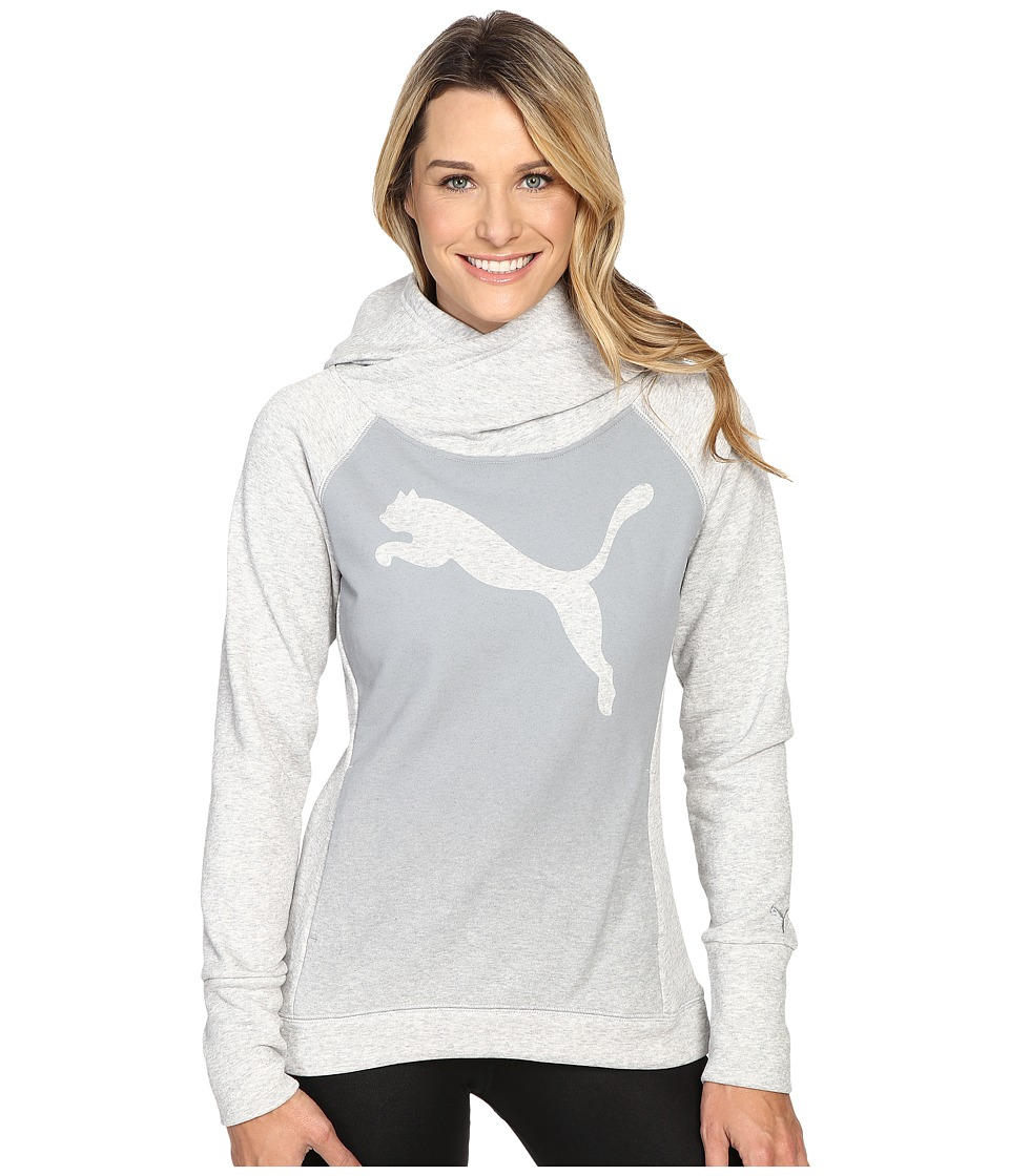 PUMA - Cat Fleece Hoodie (Light Gray Heather) Women's Sweatshirt