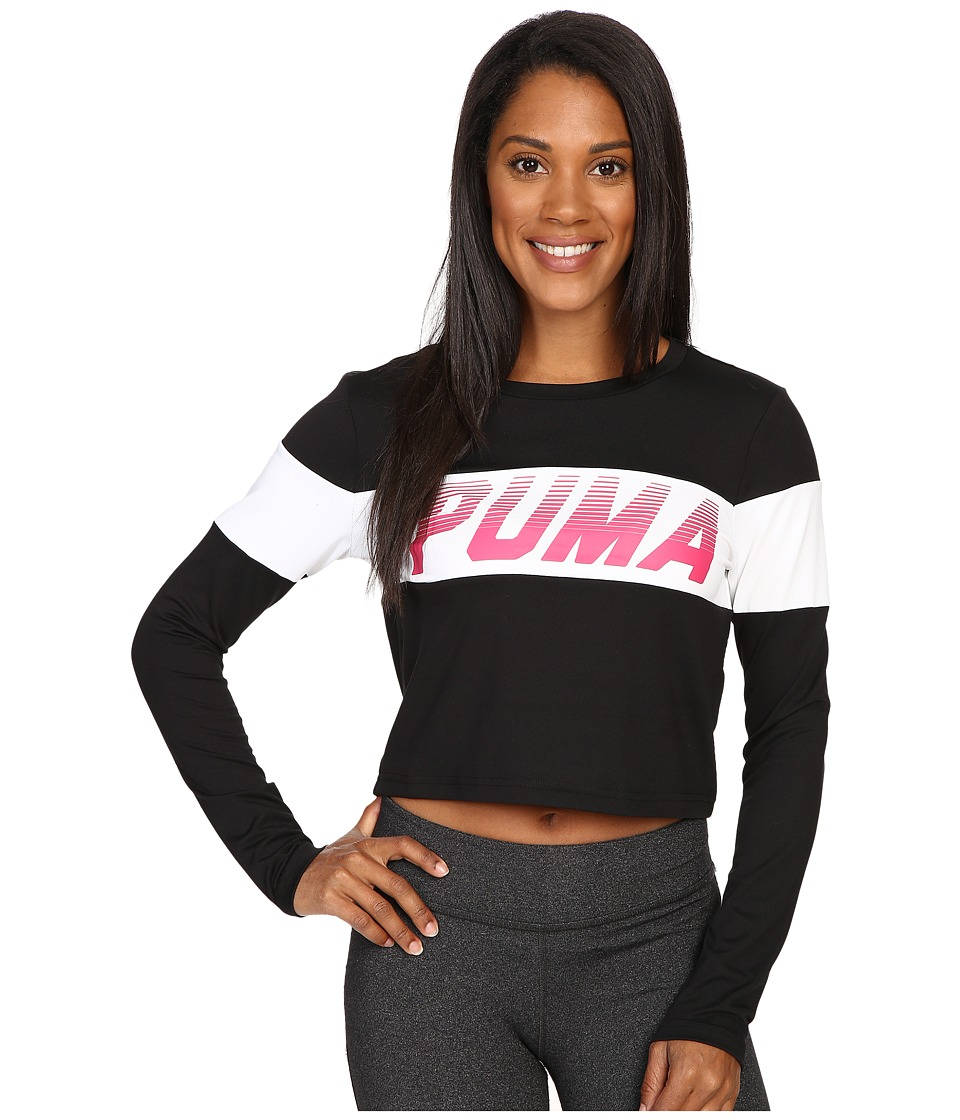 PUMA - Speed Font Long Sleeve Top (PUMA Black) Women's Long Sleeve Pullover