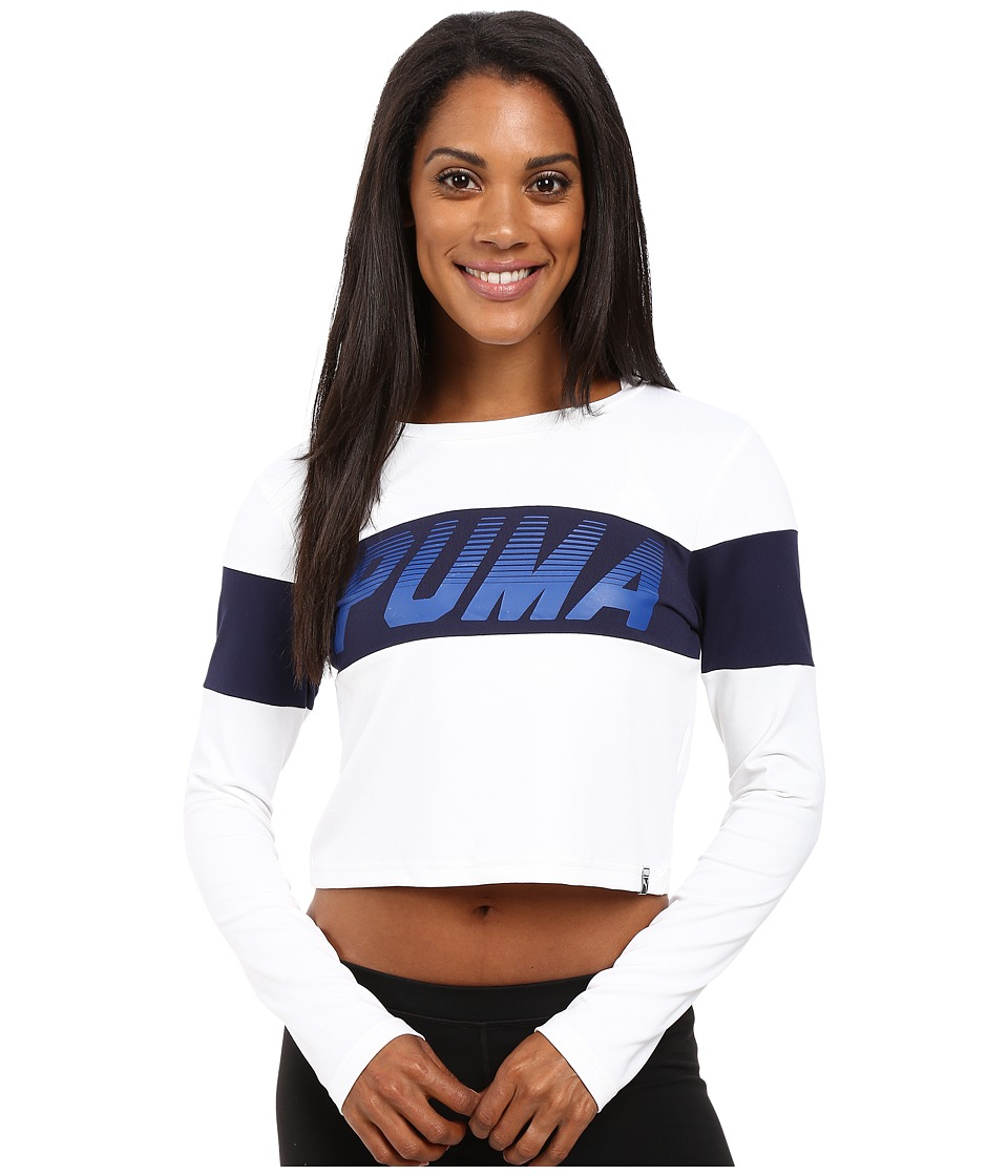 PUMA - Speed Font Long Sleeve Top (PUMA White) Women's Long Sleeve Pullover
