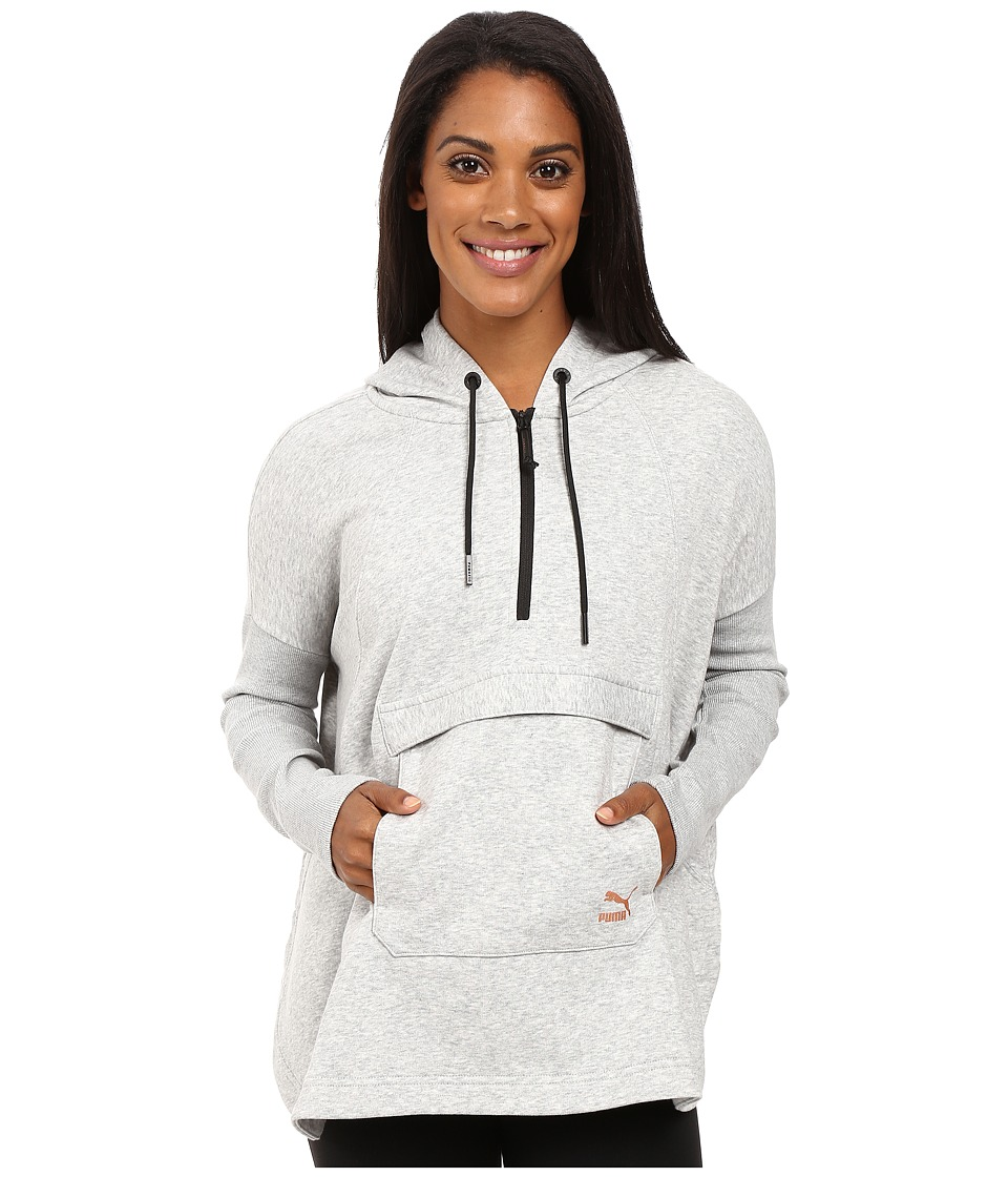 PUMA - EVO Hooded Cape (Light Gray Heather) Women's Coat