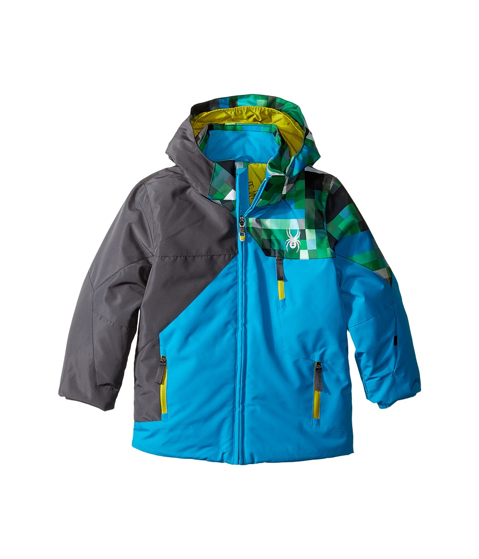 Spyder Kids - Mini Ambush Jacket (Toddler/Little Kids/Big Kids) (Electric Blue/Polar/Pixel Electric Blue) Boy's Coat