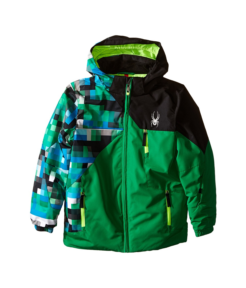 Spyder Kids - Mini Ambush Jacket (Toddler/Little Kids/Big Kids) (Jungle/Pixel Electric Blue/Black) Boy's Coat
