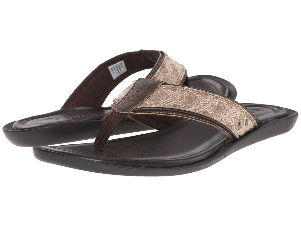 GUESS - Terrance (Medium Brown Fabric) Men's Toe Open Shoes