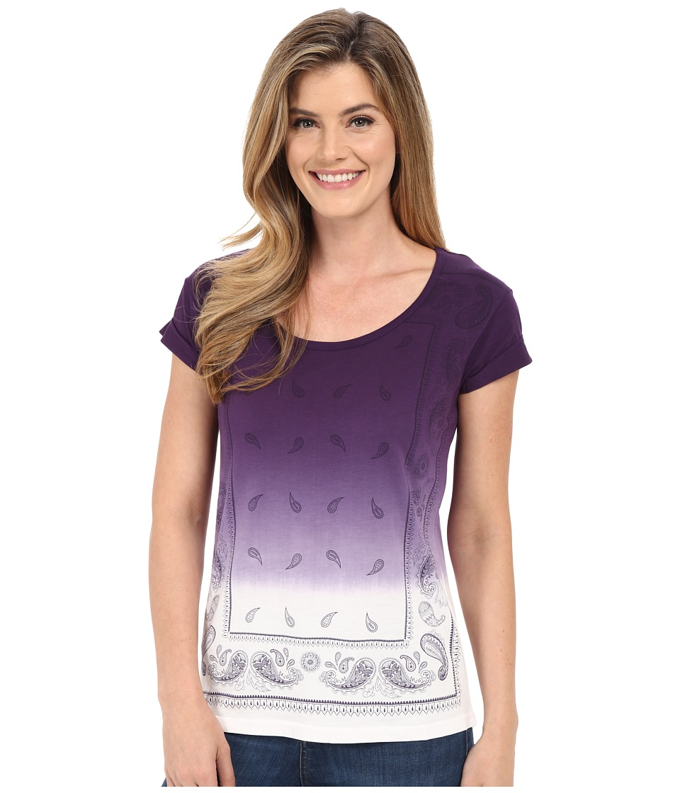 Cruel - Cap Sleeve Tee with Front Screen (Purple) Women's T Shirt