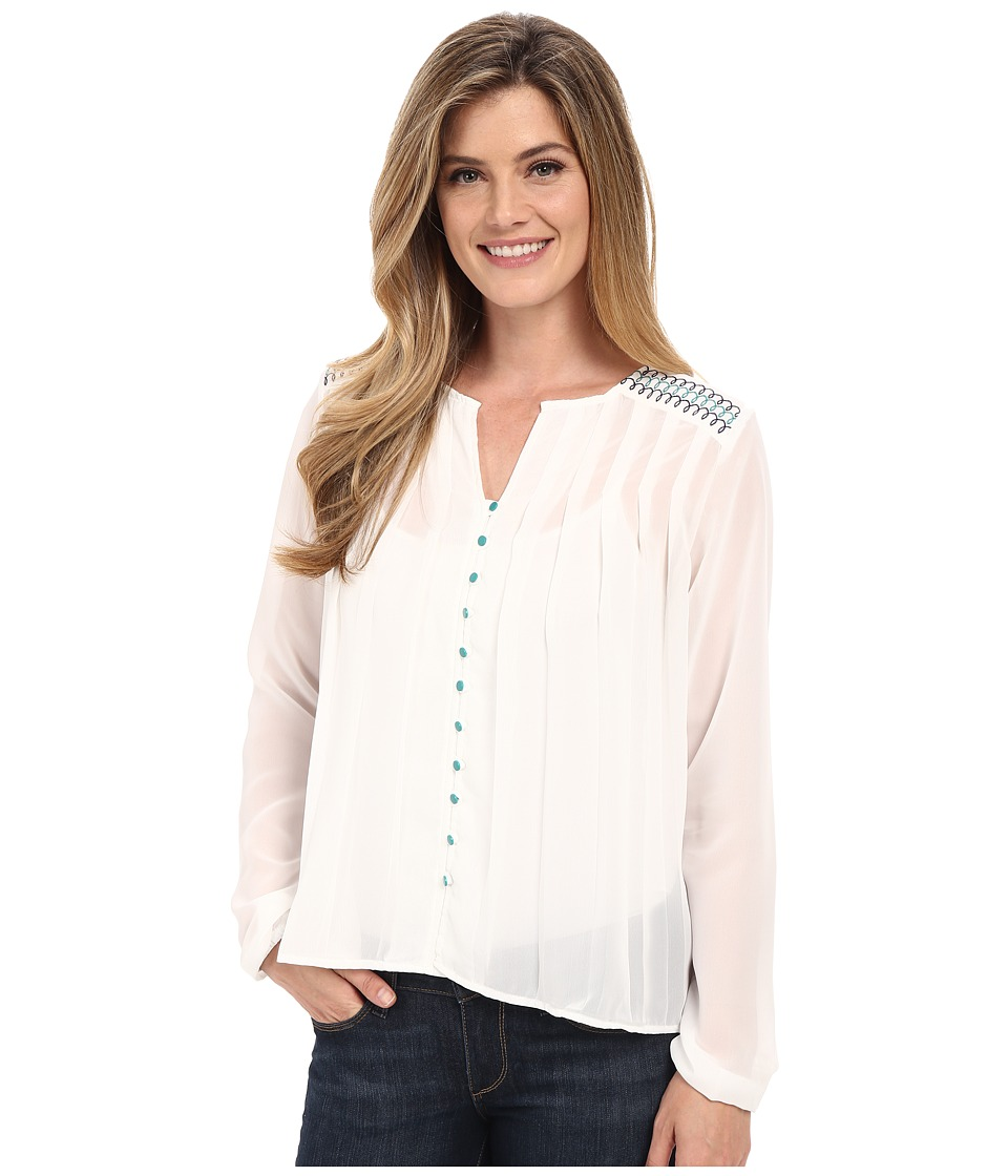 Cruel - Long Sleeve Button Front Peasant Blouse (White) Women's Blouse