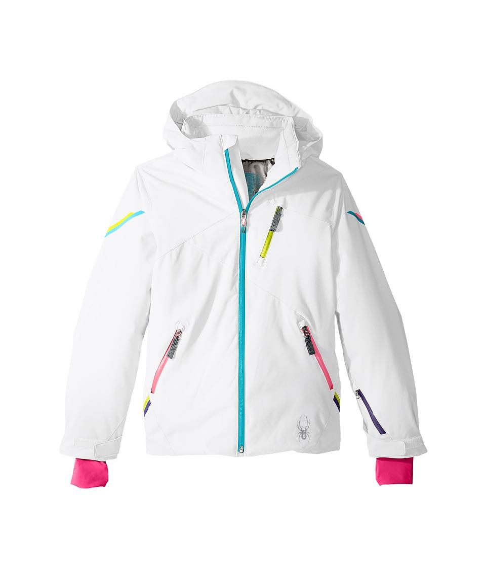 Spyder Kids - Pandora Jacket (Big Kids) (White/Bluebird/Bryte Bubblegum) Girl's Coat