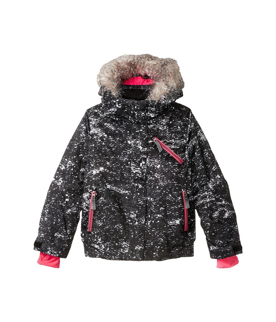 Spyder Kids - Lola Jacket (Big Kids) (Sequins Black/Bryte Bubblegum) Girl's Coat