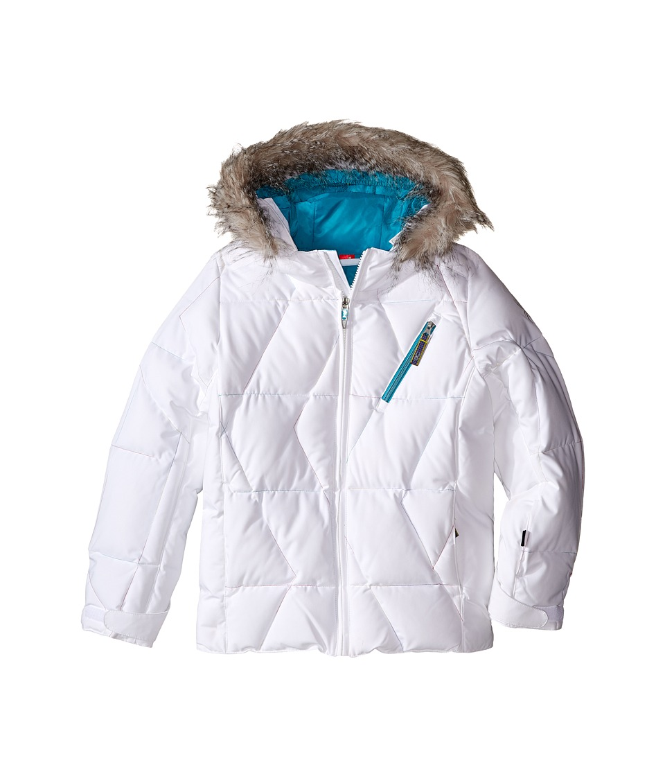 Spyder Kids - Hottie Jacket (Big Kids) (White/Bluebird) Girl's Coat