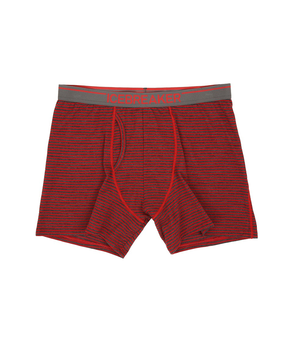Icebreaker - Anatomica Boxers w/ Fly (Oxblood/Jet Heather/Stripe) Men's Underwear