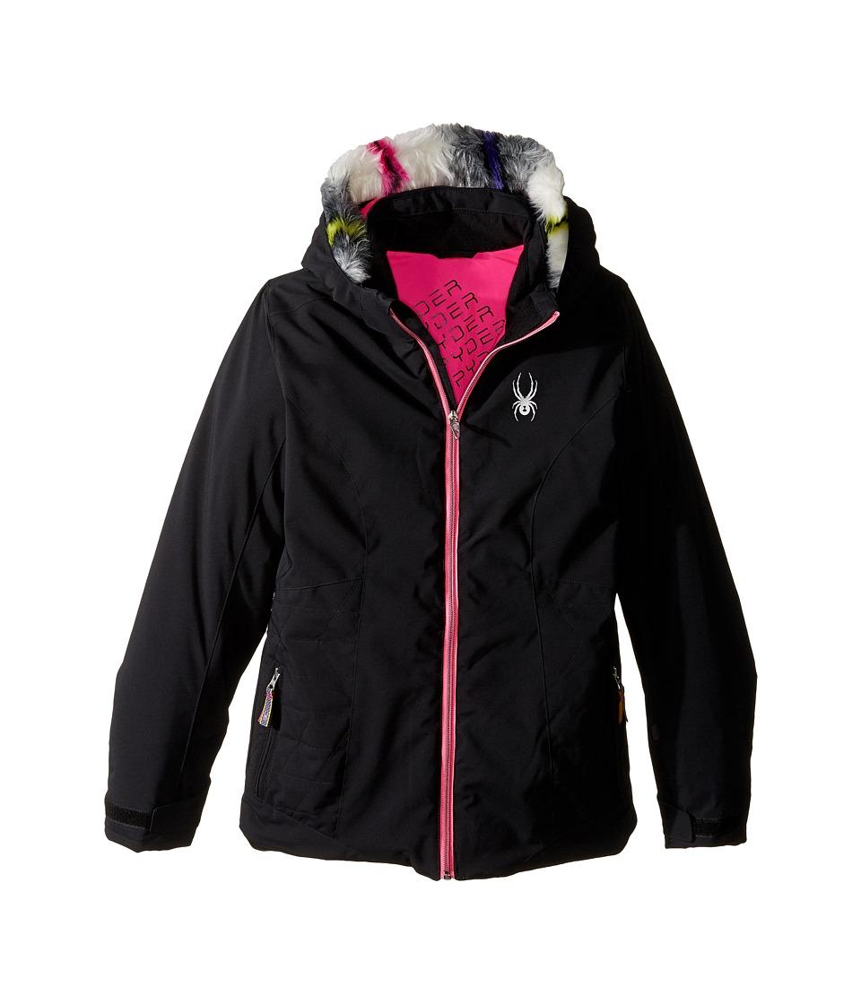 Spyder Kids - Eve Jacket (Big Kids) (Black/Bryte Bubblegum) Girl's Coat