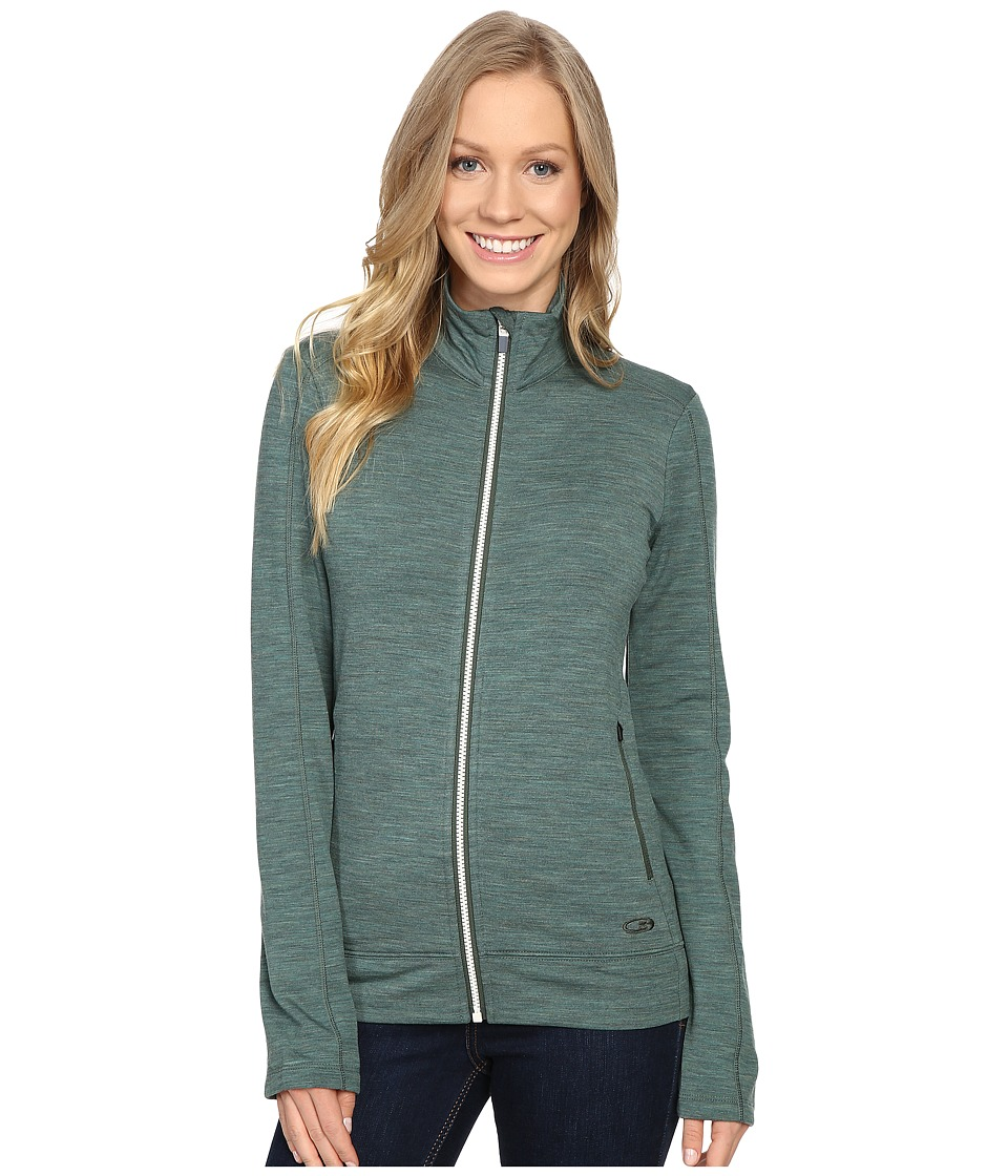 Icebreaker Dia Long Sleeve Zip (Coriander Heather/Snow/Coriander Heather) Women