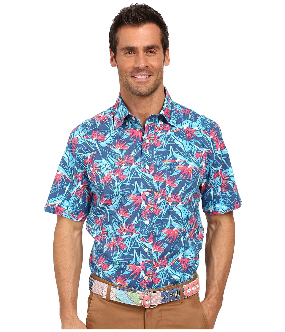 Vineyard Vines - Birds of Paradise Short Sleeve Murray Shirt (Moonshine) Men's Short Sleeve Button Up