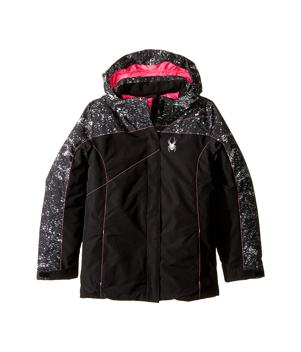 Spyder Kids - Dreamer Jacket (Big Kids) (Black/Sequins Black/Bryte Bubblegum) Girl's Coat