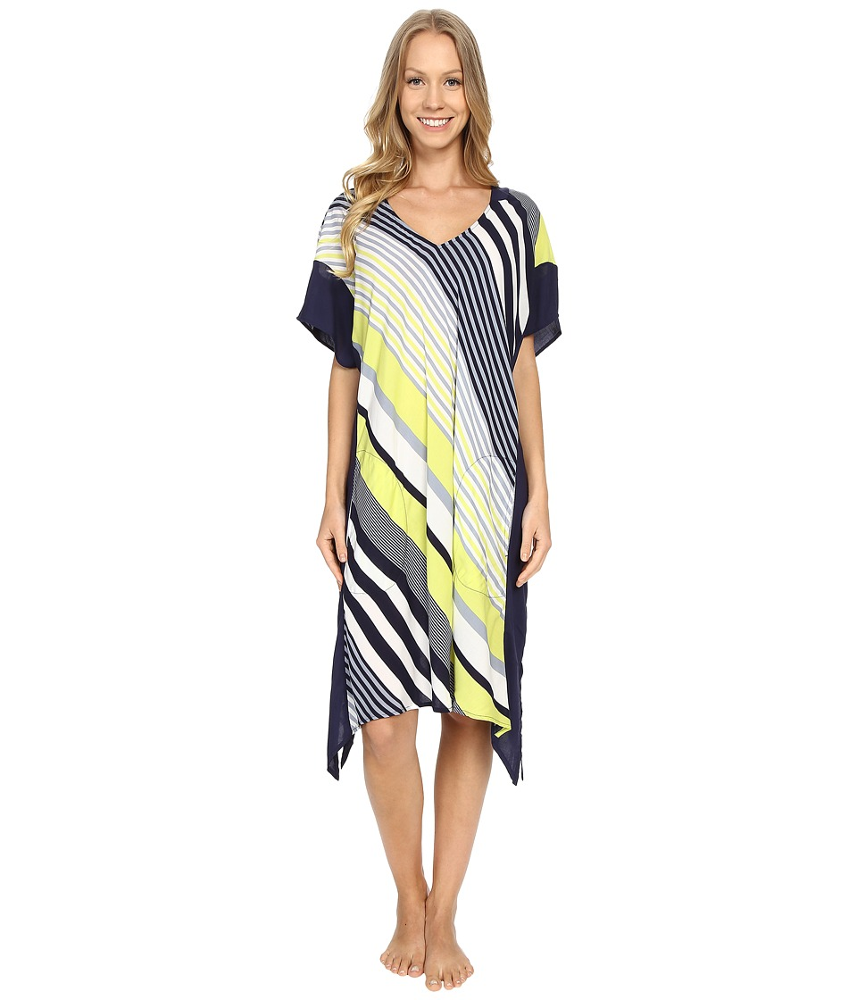 DKNY - City Stripe Caftan (Lime Crush Large Stripe) Women's Pajama