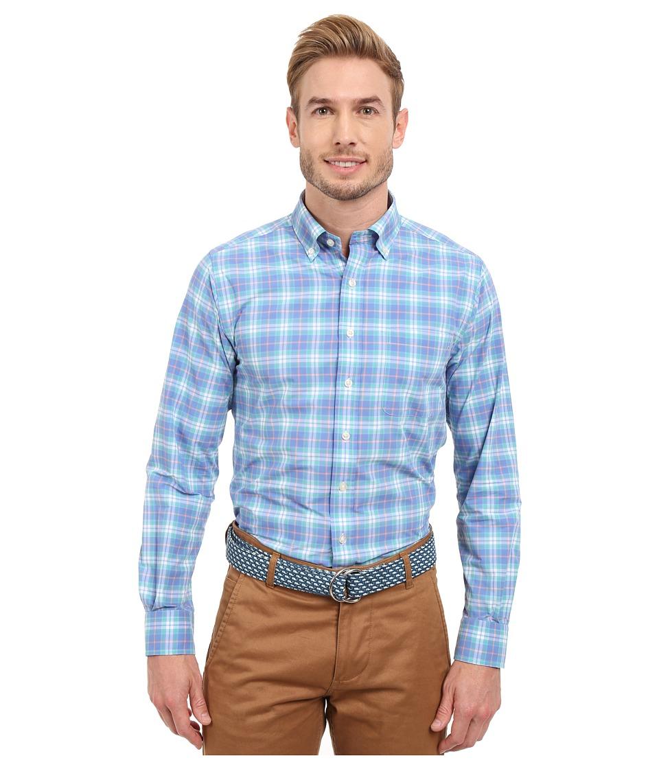 Vineyard Vines - Blanchard Beach Plaid Performance Slim Murray Shirt (Marine) Men's Long Sleeve Button Up