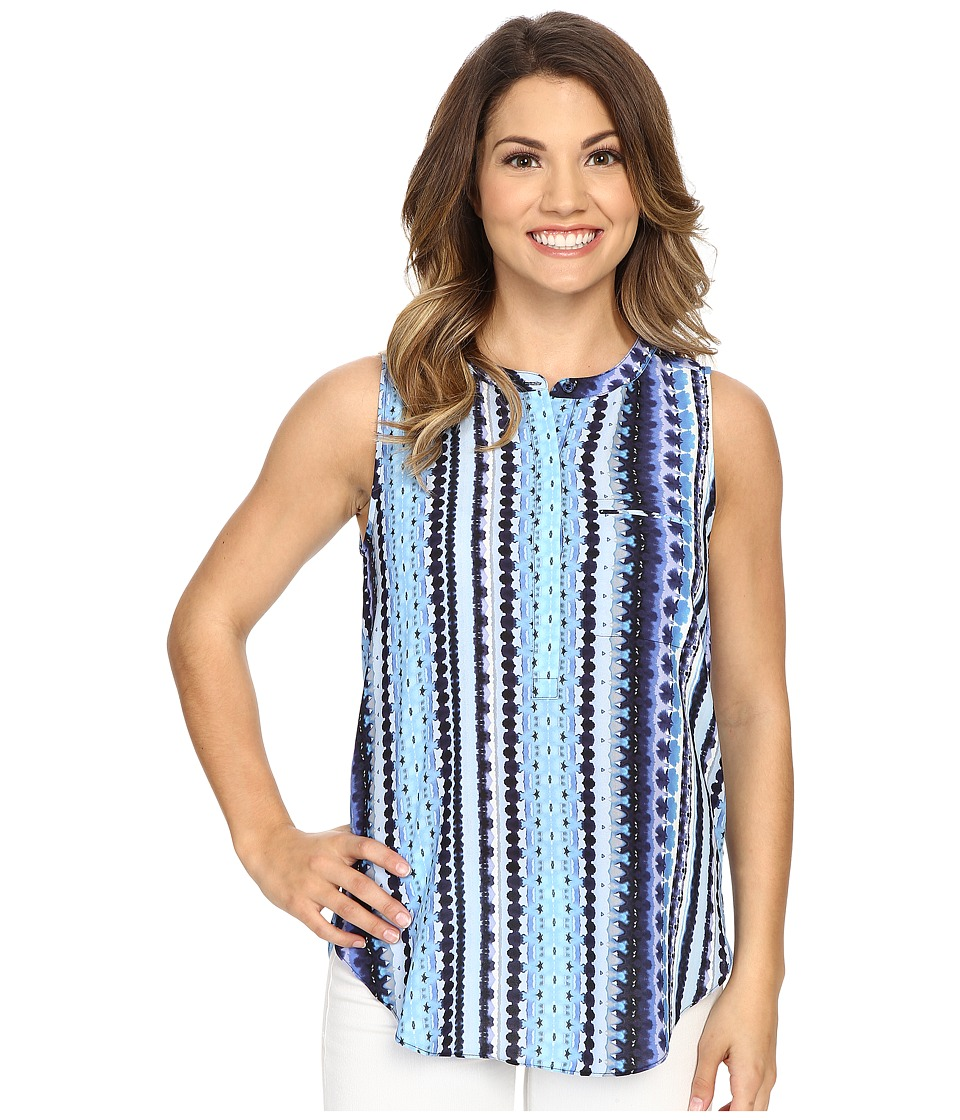 NYDJ Petite - Petite Key Item Sleeveless Pleat Back Blouse (Waterfall Stripe Blue Wave) Women's Sleeveless