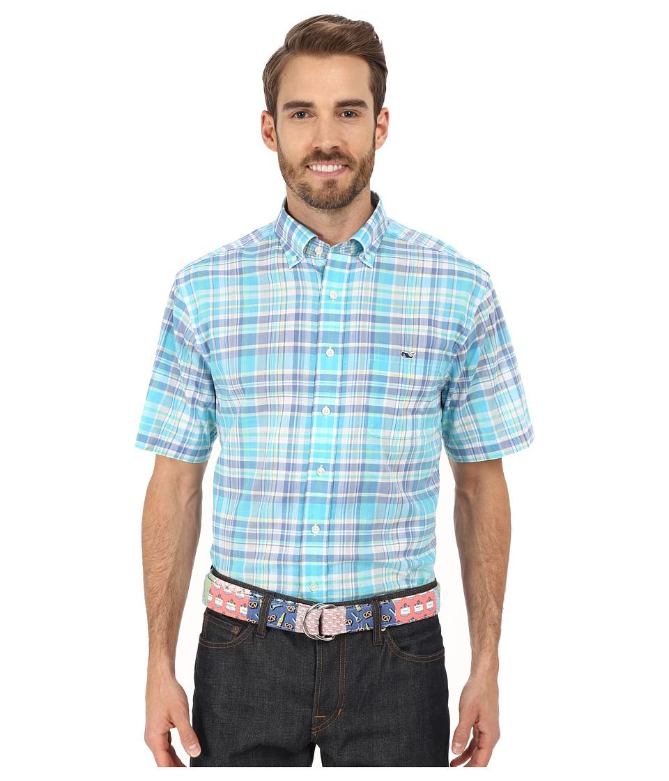Vineyard Vines - Bar Jack Plaid Short Sleeve Tucker Shirt (Freshwater) Men's Short Sleeve Button Up