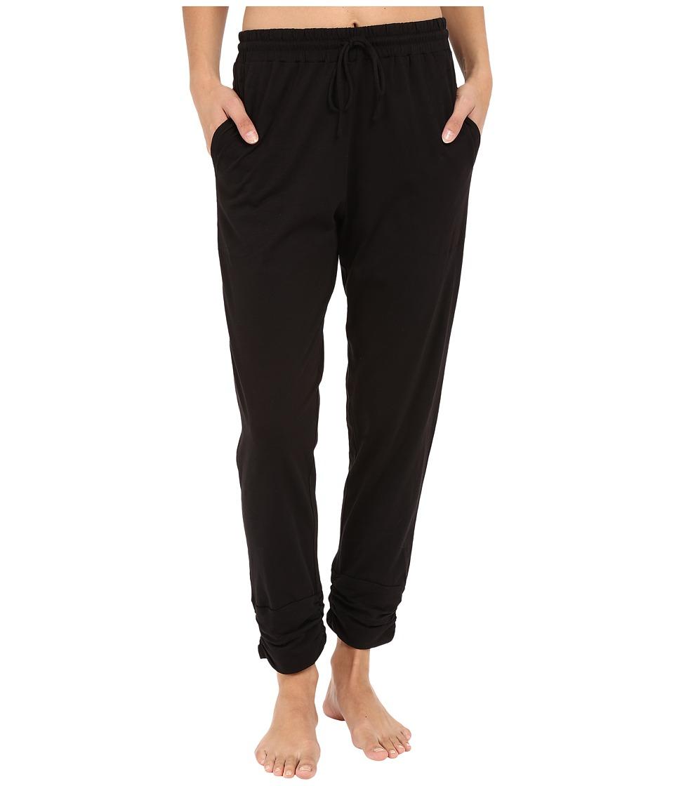 DKNY - Ruched Slub Jersey Capris (Black) Women's Pajama