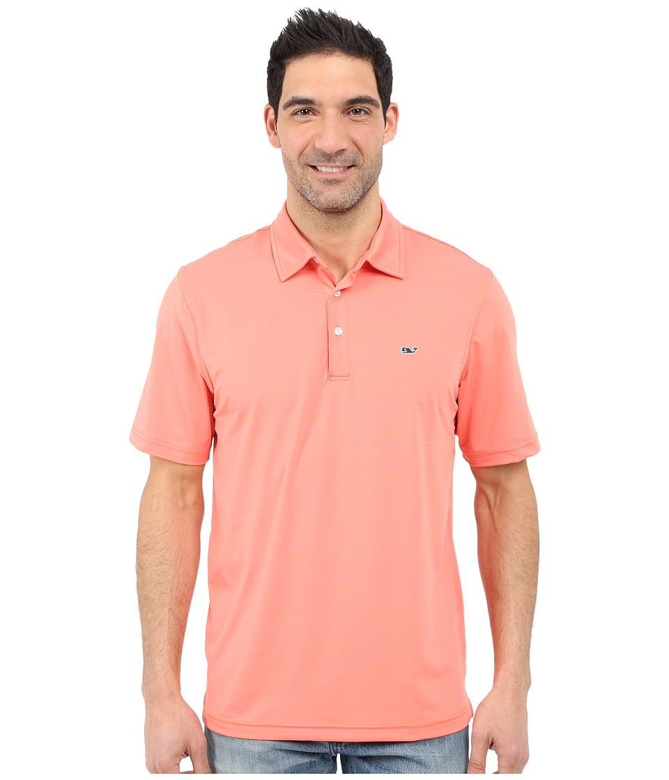 Vineyard Vines - Lag Stripe Performance Polo (Tigerlily) Men's Clothing