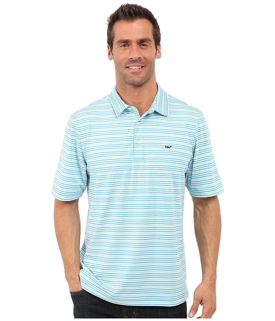 Vineyard Vines - Ire Stripe Performance Polo (Aquinnah Aqua) Men's Clothing