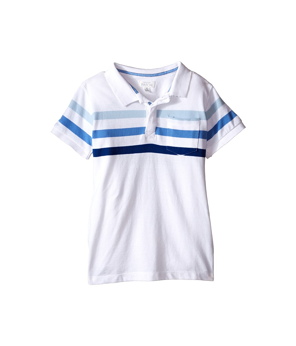 Pumpkin Patch Kids - Stripe Polo Top (Big Kids) (Clean White) Boy's Short Sleeve Knit