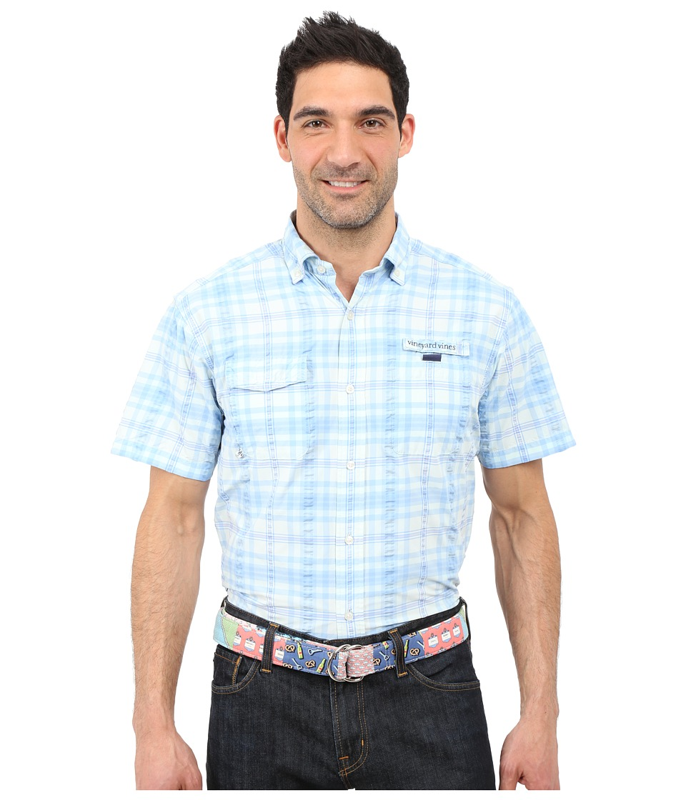 Vineyard Vines - Short Sleeve Spearfish Plaid Harbor Shirt (Petal) Men's Short Sleeve Button Up