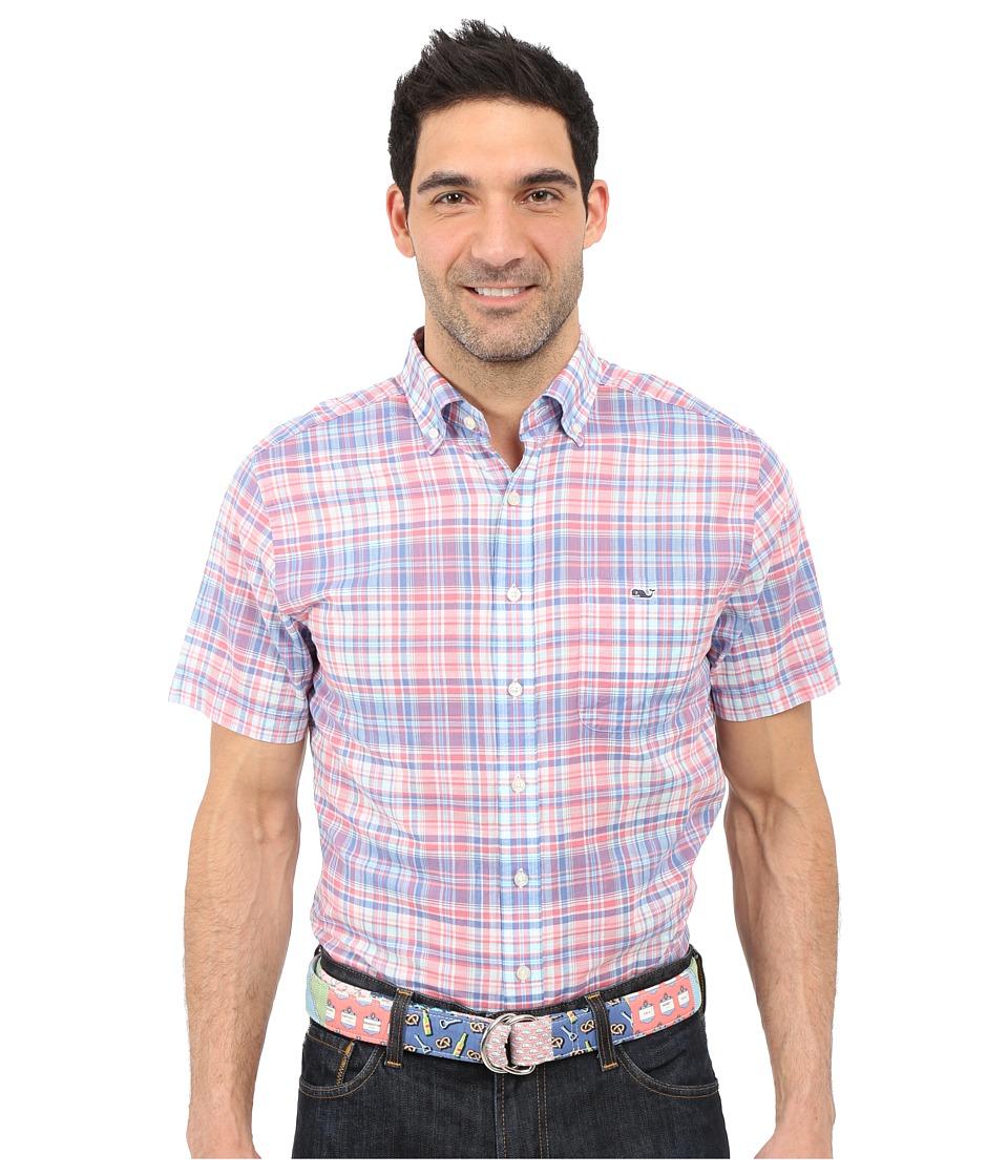Vineyard Vines - George Hill Plaid Short Sleeve Slim Tucker Shirt (Jetty Red) Men's Short Sleeve Button Up
