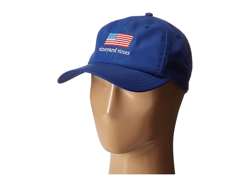 Vineyard Vines - Flag Performance Hat (Harbor Blue) Caps