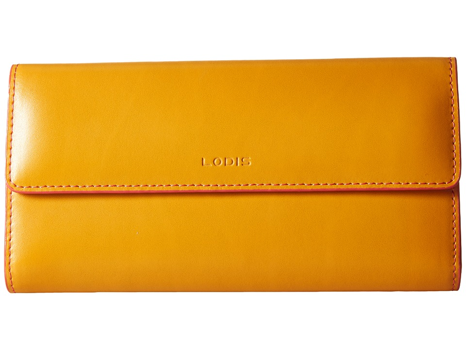 Lodis Accessories - Audrey Checkbook Clutch (Maize/Coral) Wallet Handbags