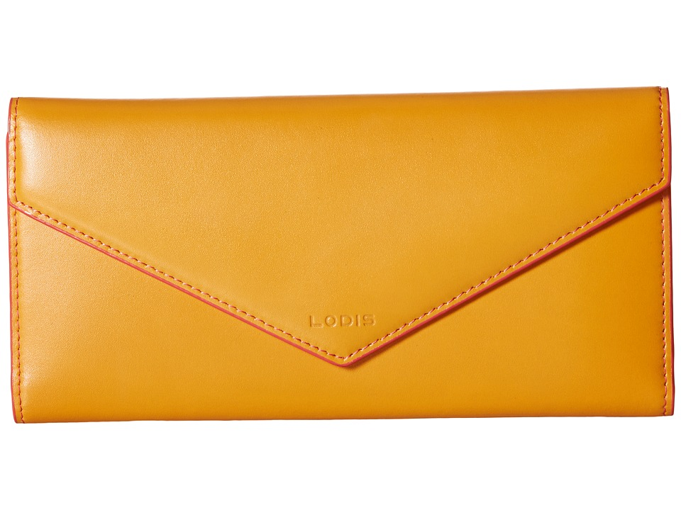Lodis Accessories - Audrey Alix Trifold (Maize/Coral) Wallet Handbags