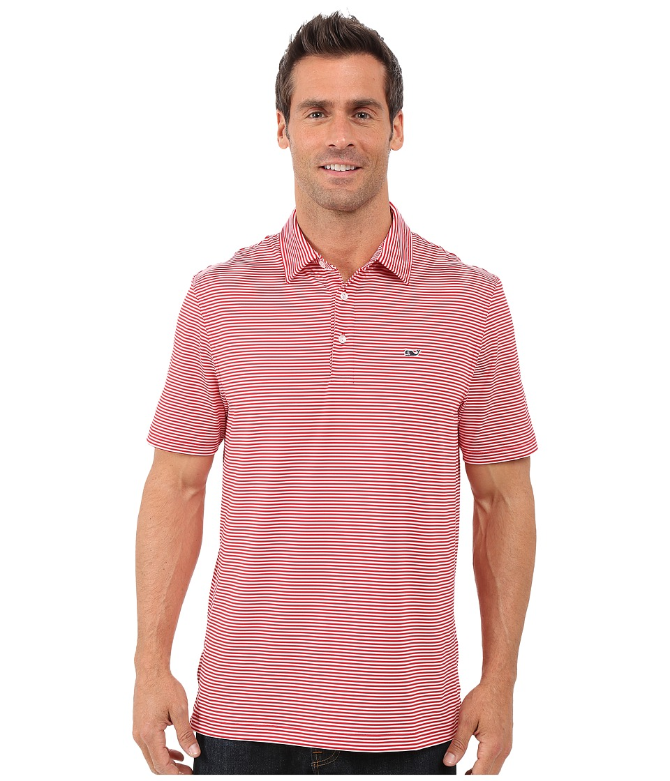 Vineyard Vines - Cliff Stripe Polo (Lighthouse Red) Men's Short Sleeve Knit