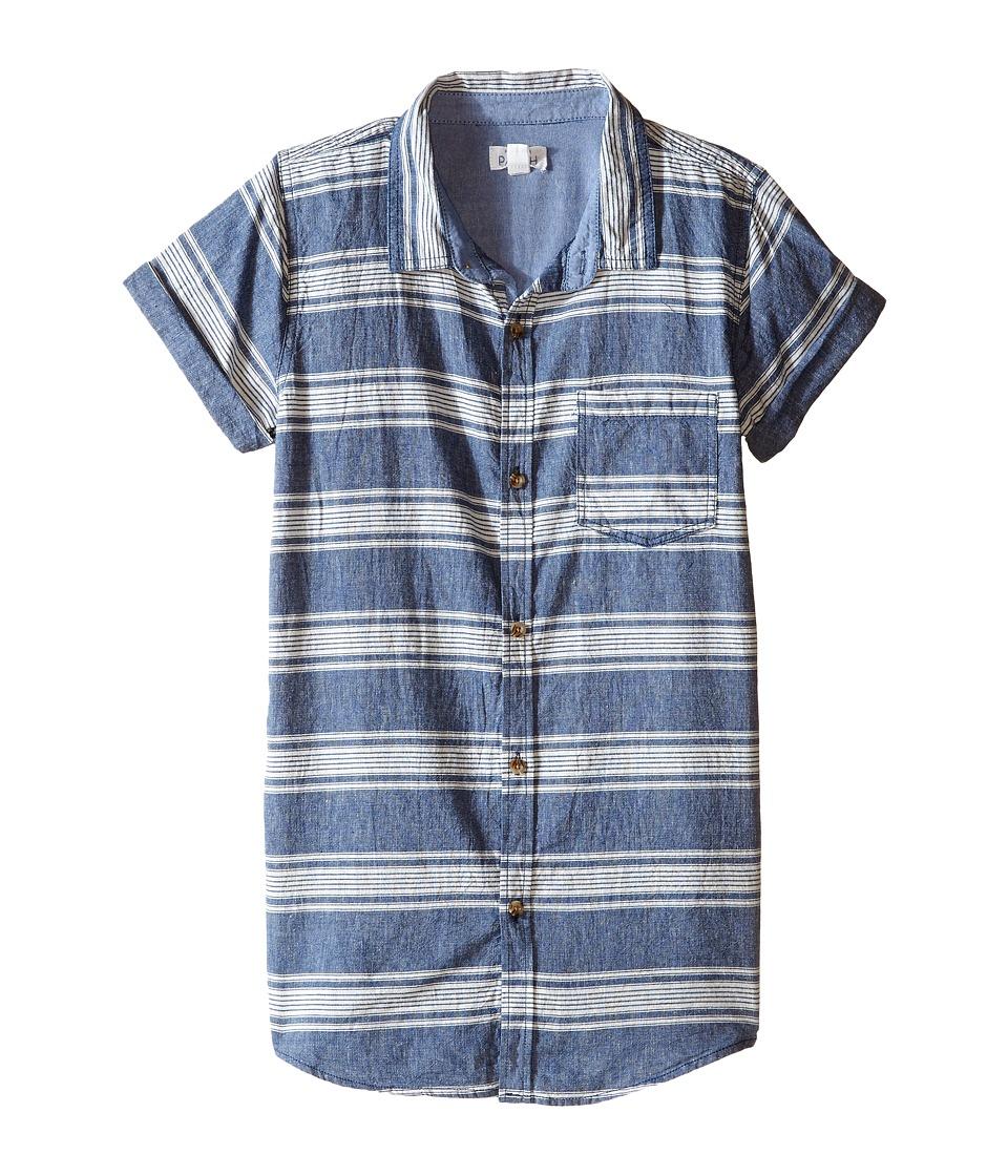 Pumpkin Patch Kids - Stripe Shirt (Big Kids) (Anchor Blue) Boy's Short Sleeve Button Up