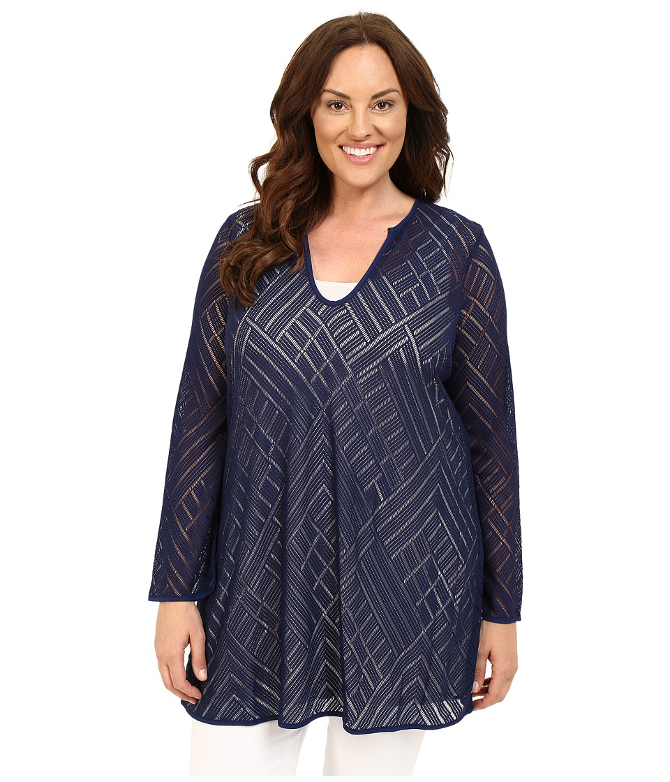 NIC+ZOE - Plus Size Sun Lace Tunic (Abyss) Women's Dress plus size,  plus size fashion plus size appare