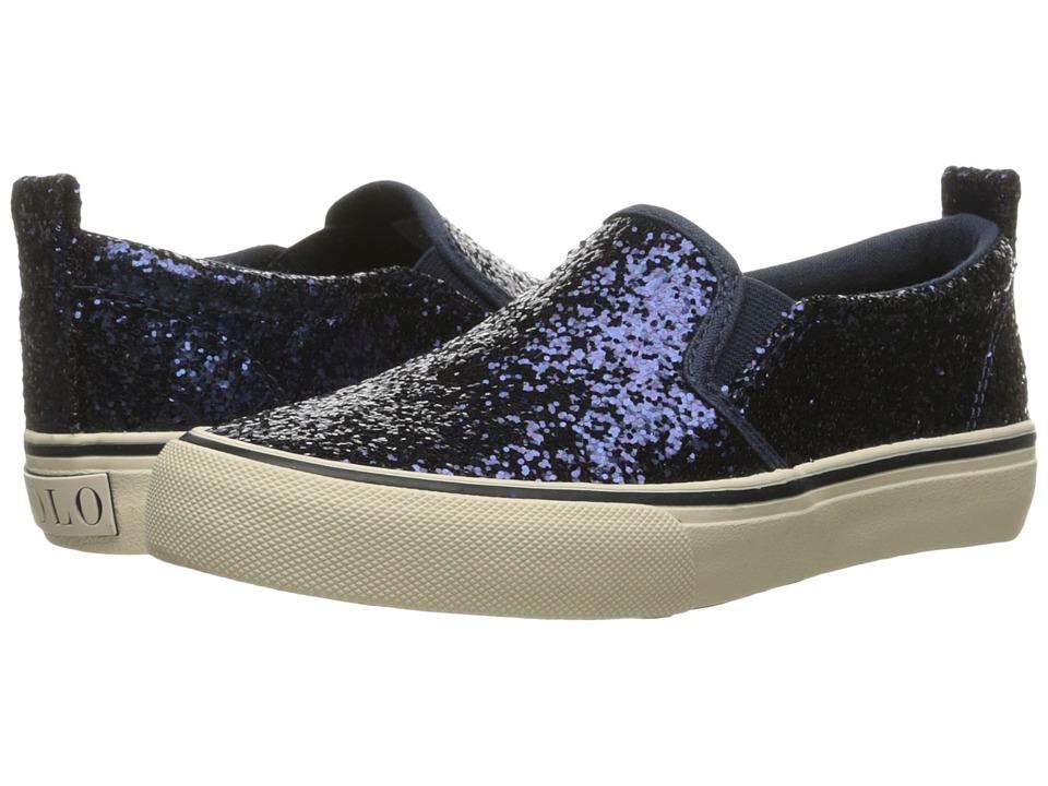 Polo Ralph Lauren Kids Carlee Twin Gore (Little Kid/Big Kid) (Navy Chunky Glitter) Girls Shoes