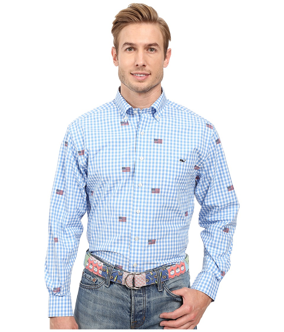 Vineyard Vines - Gingham Flag Murray Shirt (Cornflower) Men's Long Sleeve Button Up