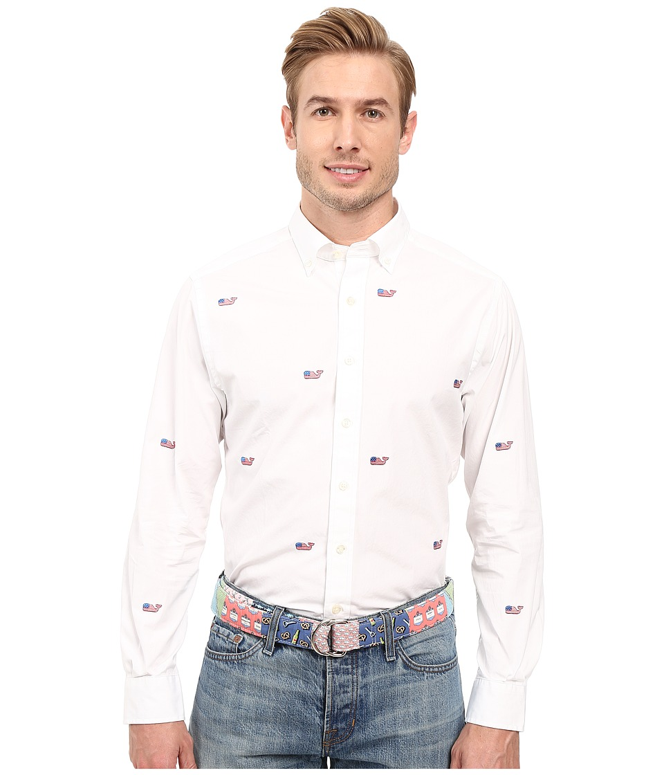 Vineyard Vines - Flag Whale Embroidered Slim No Pocket Shirt (White Cap) Men's Long Sleeve Button Up
