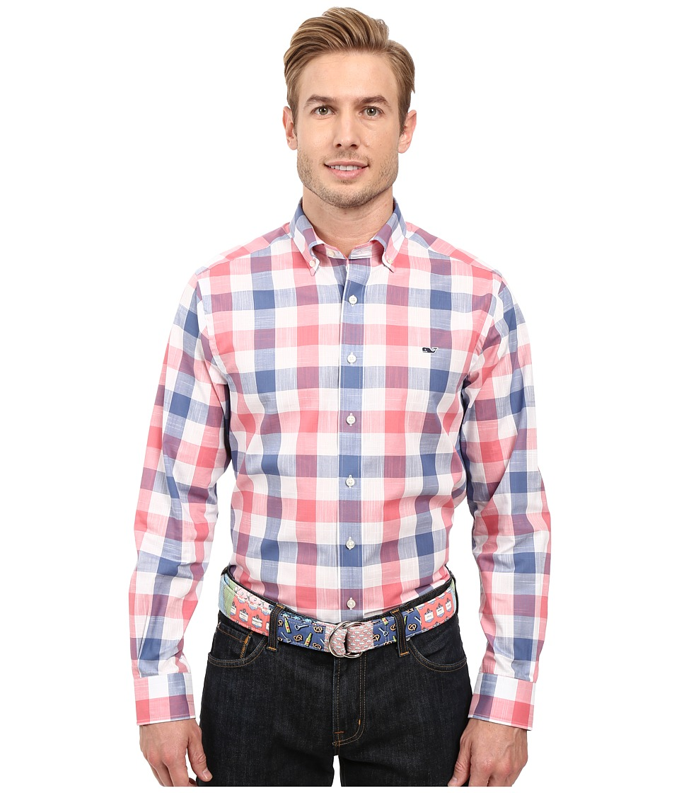 Vineyard Vines - Halyard Check Slim Whale Shirt (Flag Blue) Men's Long Sleeve Button Up