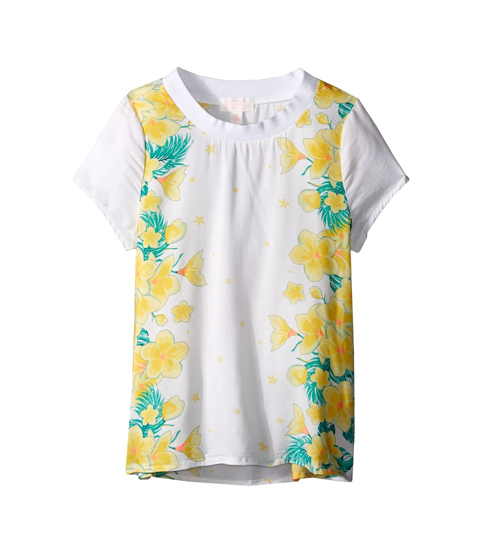 Pumpkin Patch Kids - Floral Graphic Print Top (Big Kids) (Clean White) Girl's Clothing