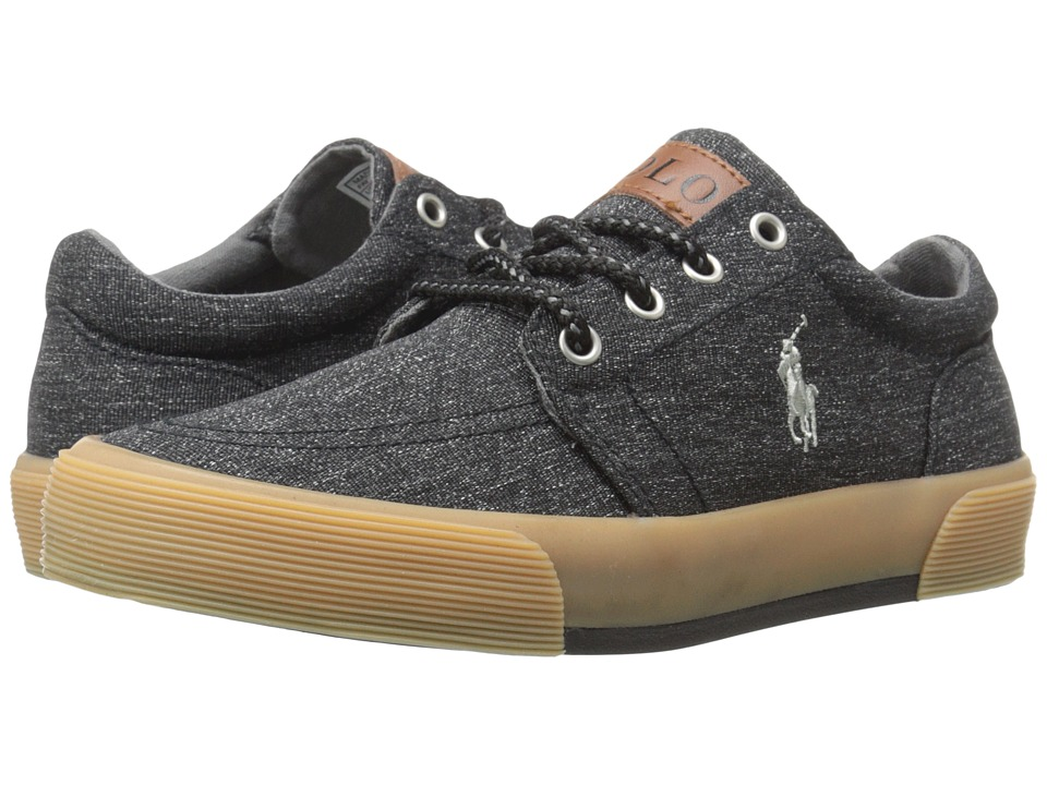 Polo Ralph Lauren Kids - Faxon II (Big Kid) (Black Heritage Canvas/Grey Pony) Boy's Shoes
