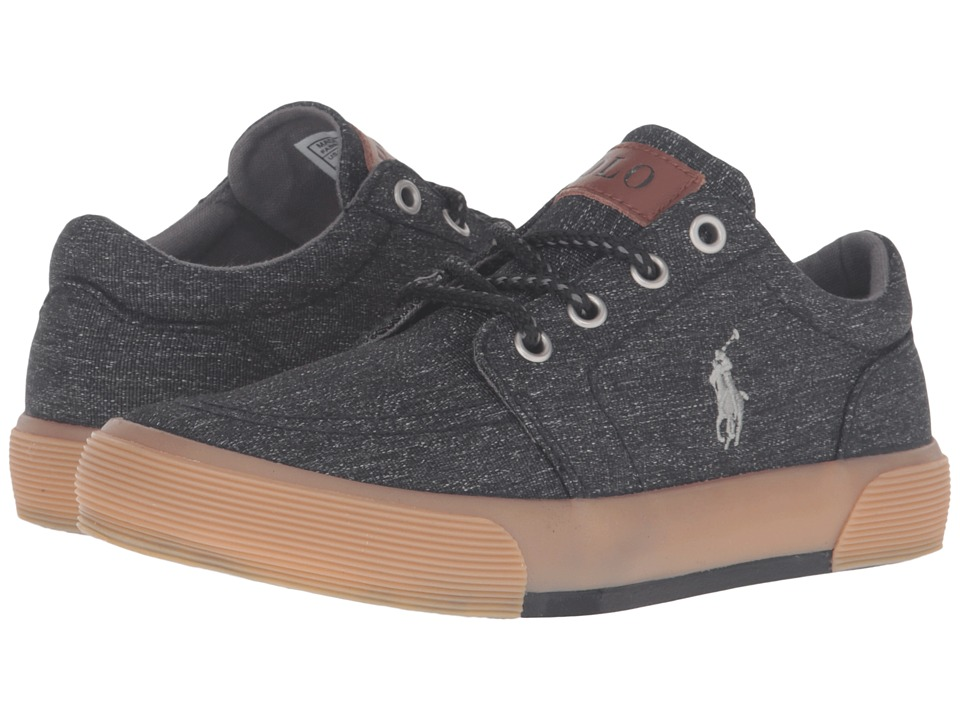 Polo Ralph Lauren Kids - Faxon II (Little Kid) (Black Heritage Canvas/Grey Pony) Boy's Shoes