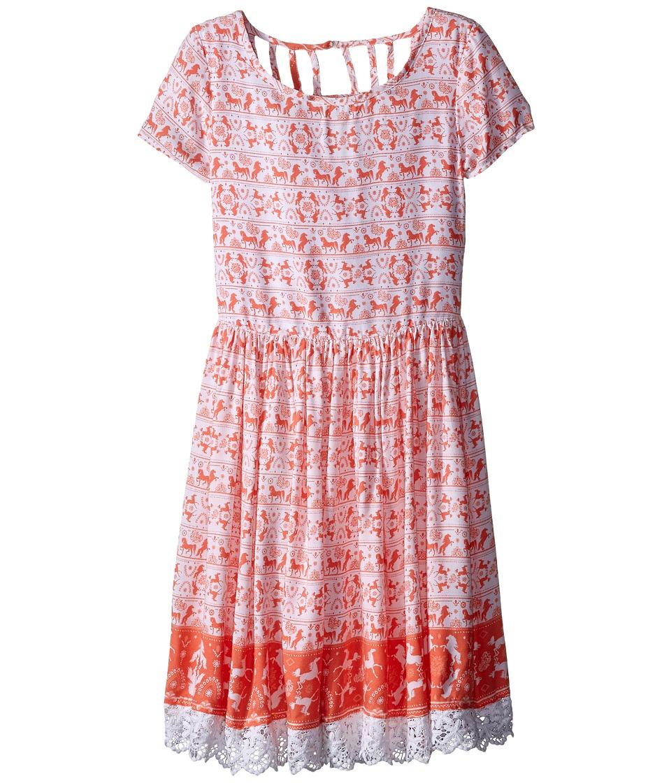 Pumpkin Patch Kids - Border Print Dress (Big Kids) (Melon) Girl's Dress