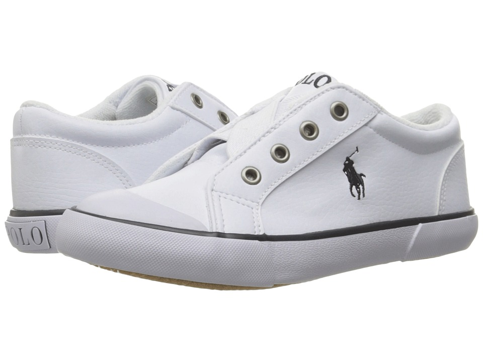 Polo Ralph Lauren Kids - Greggner (Toddler) (White Tumbled/Navy Pony) Boys Shoes