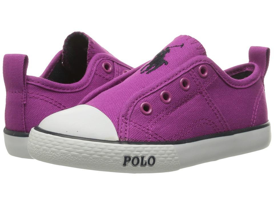 Polo Ralph Lauren Kids - Raymond Slip-On (Little Kid) (Berry Canvas/Navy Pony) Boy's Shoes